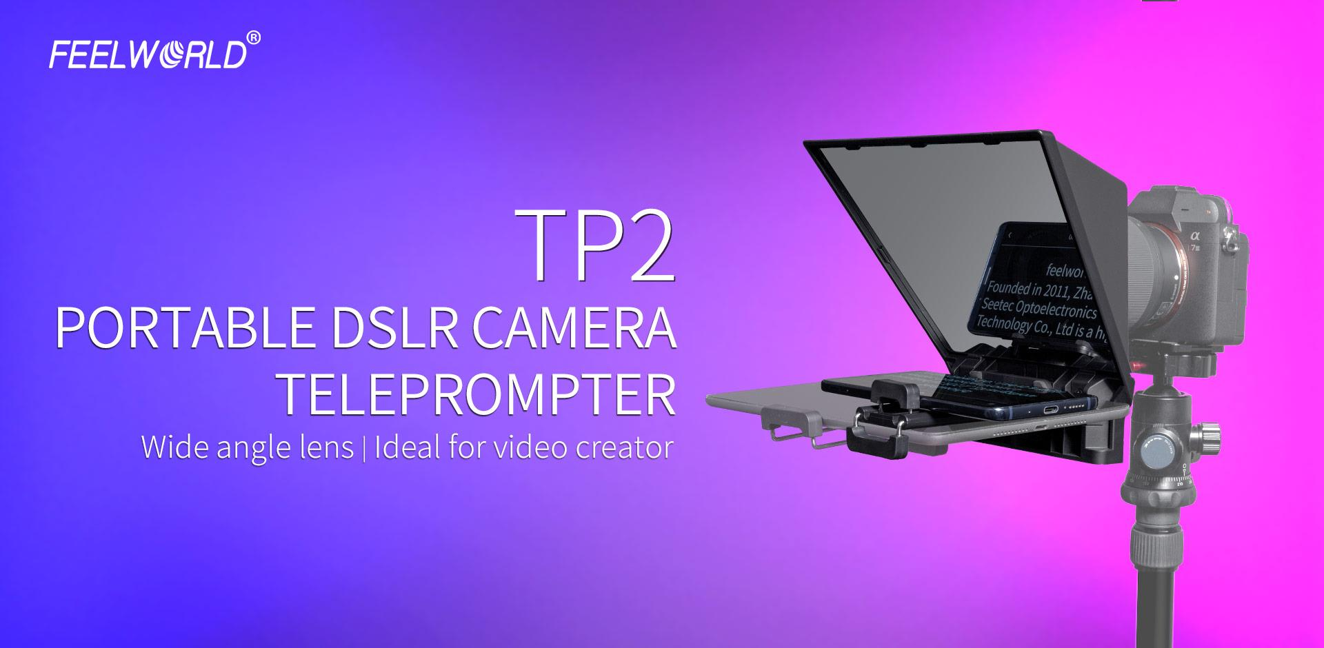 Feelworld TP2 Portable Teleprompter for Smartphone/Tablet/DSLR