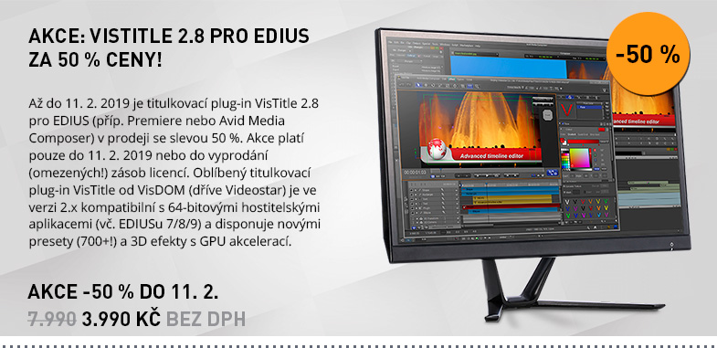 AKCE: VISTITLE 2.8 PRO EDIUS ZA 50 % CENY!