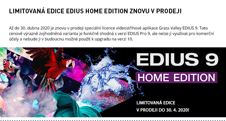 EDIUS HOME EDITION ZNOVU V PRODEJI