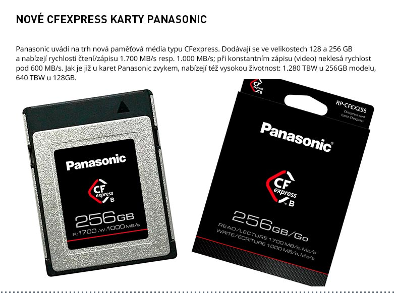 CFEXPRESS KARTY PANASONIC