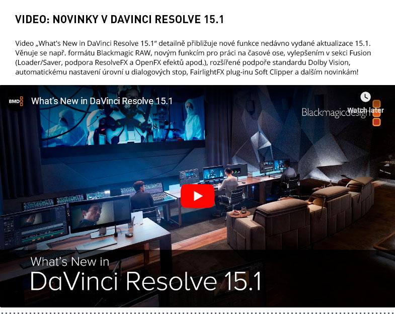 NOVINKY V DAVINCI RESOLVE 15.1