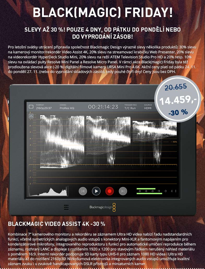 Blackmagic Friday: Video Assist 4K -30%
